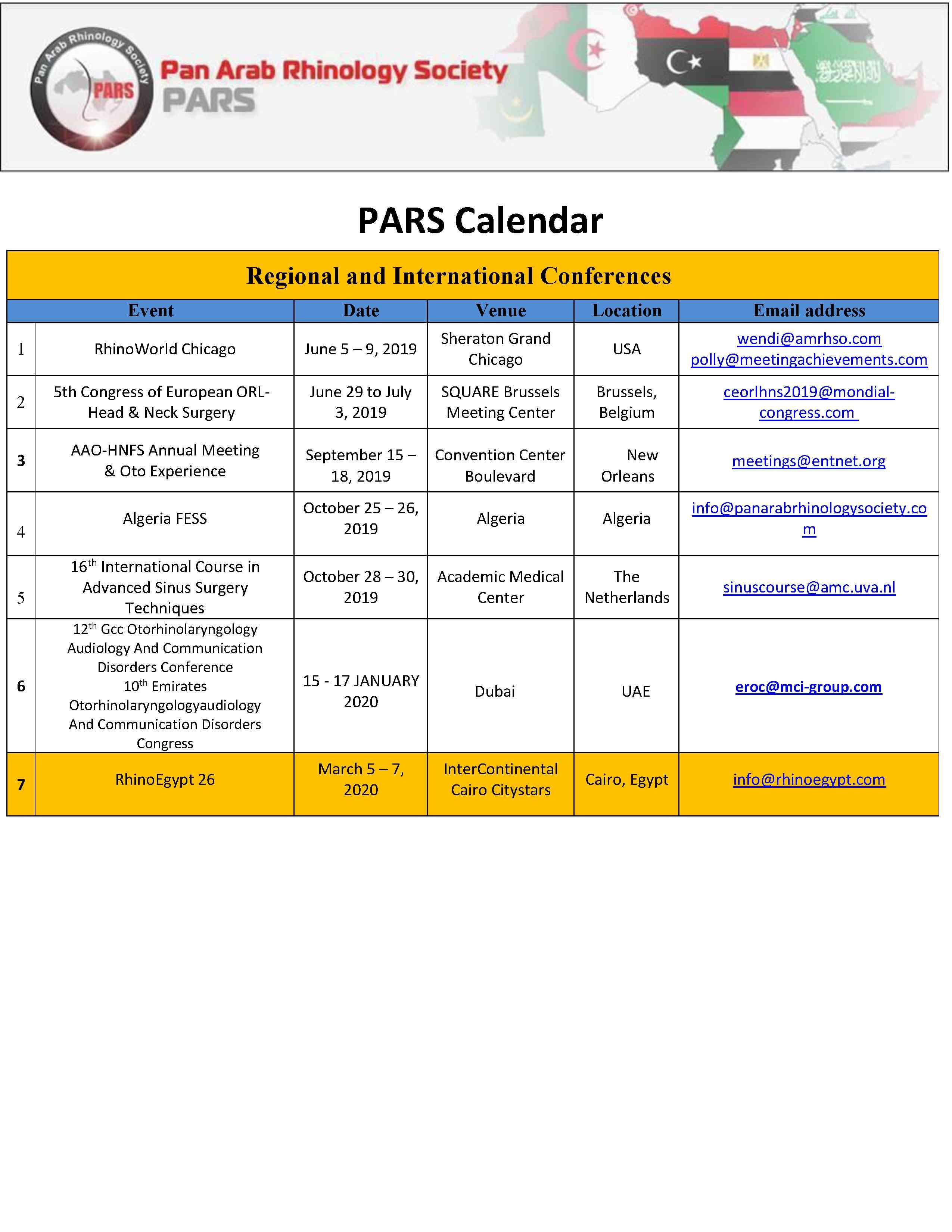 PARS Calendar